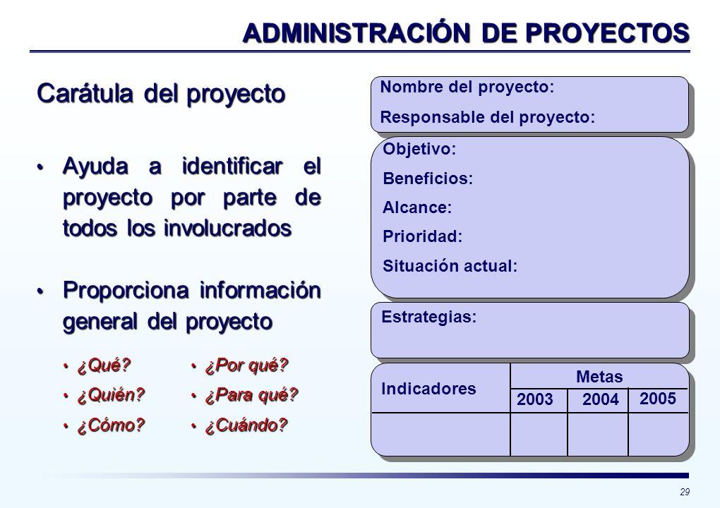 29 Carátula del proyecto Nombre del proyecto: Responsable del proyecto: Objetivo: Beneficios: Alcance: Situación actual: Estrategias: Indicadores Meta