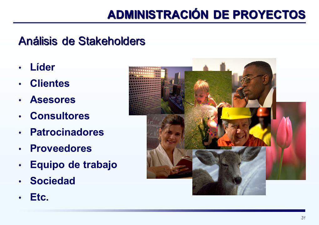 31 Líder Clientes Asesores Consultores Patrocinadores Proveedores Equipo de trabajo Sociedad Etc. ADMINISTRACIÓN DE PROYECTOS Análisis de Stakeholders