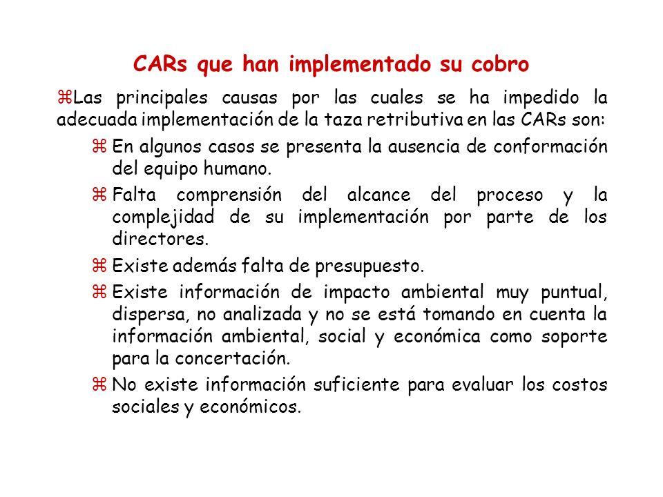 CARs que han implementado su cobro zLas principales causas por las cuales se ha impedido la adecuada implementación de la taza retributiva en las CARs