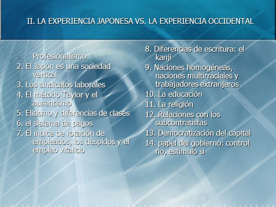 II. LA EXPERIENCIA JAPONESA VS. LA EXPERIENCIA OCCIDENTAL 1. Profesionalismo 2. El Japón es una sociedad vertical 3. Los sindicatos laborales 4. El mé