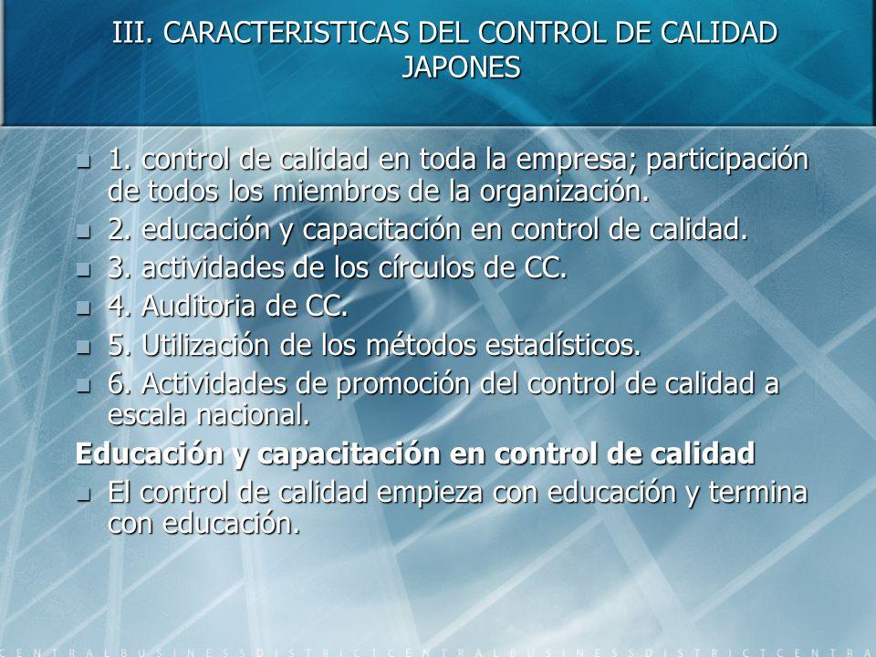 III. CARACTERISTICAS DEL CONTROL DE CALIDAD JAPONES 1. control de calidad en toda la empresa; participación de todos los miembros de la organización.