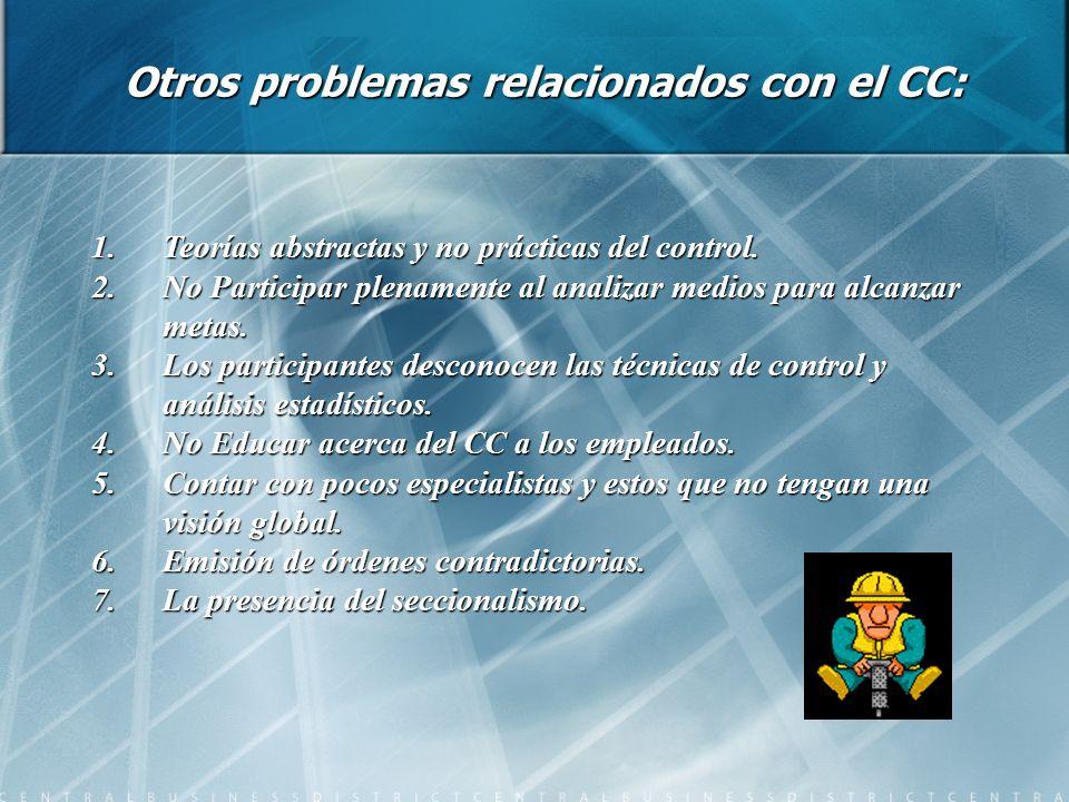 Otros problemas relacionados con el CC: 1.Teorías abstractas y no prácticas del control. 2.No Participar plenamente al analizar medios para alcanzar m