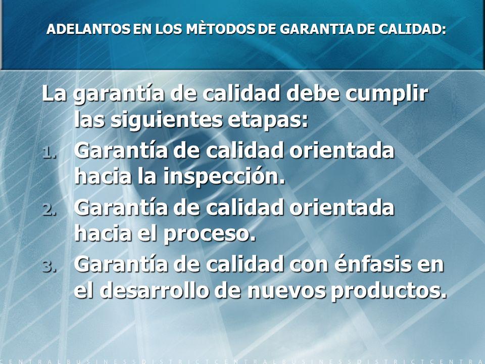 ADELANTOS EN LOS MÈTODOS DE GARANTIA DE CALIDAD: La garantía de calidad debe cumplir las siguientes etapas: 1. Garantía de calidad orientada hacia la
