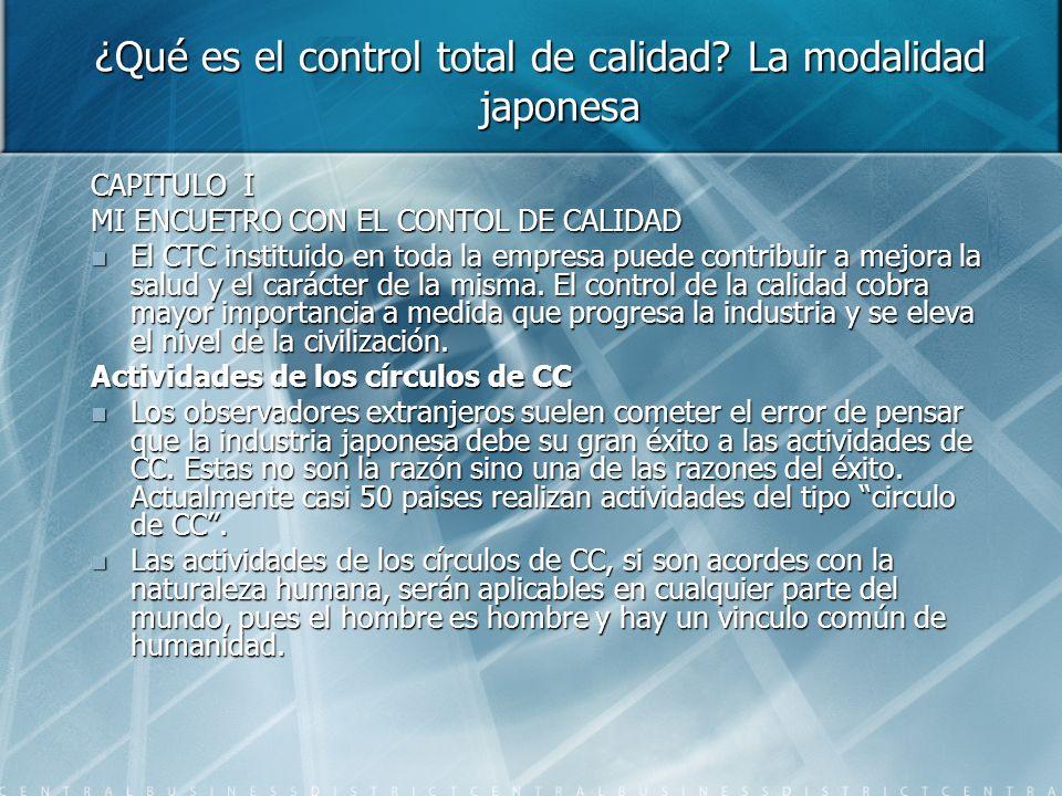CAPITULO I MI ENCUETRO CON EL CONTOL DE CALIDAD El CTC instituido en toda la empresa puede contribuir a mejora la salud y el carácter de la misma. El