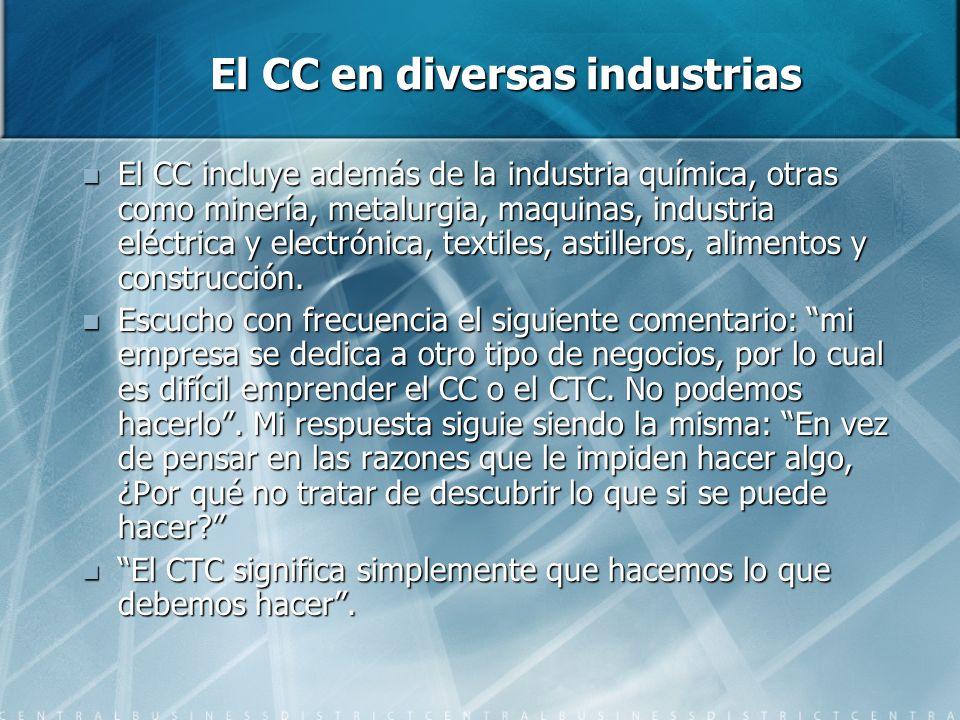 El CC en diversas industrias El CC incluye además de la industria química, otras como minería, metalurgia, maquinas, industria eléctrica y electrónica