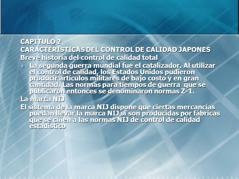 CAPITULO 2 CARACTERISTICAS DEL CONTROL DE CALIDAD JAPONES Breve historia del control de calidad total La segunda guerra mundial fue el catalizador. Al
