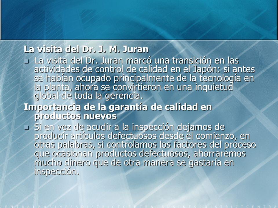 La visita del Dr. J. M. Juran La visita del Dr. Juran marcó una transición en las actividades de control de calidad en el Japón: si antes se habían oc