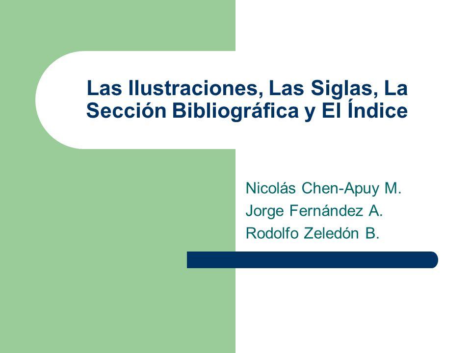 Las Ilustraciones, Las Siglas, La Sección Bibliográfica y El Índice Nicolás Chen-Apuy M. Jorge Fernández A. Rodolfo Zeledón B.