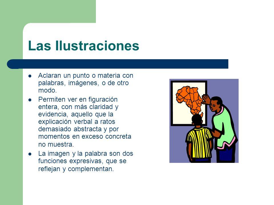 Las Ilustraciones Aclaran un punto o materia con palabras, imágenes, o de otro modo. Permiten ver en figuración entera, con más claridad y evidencia,