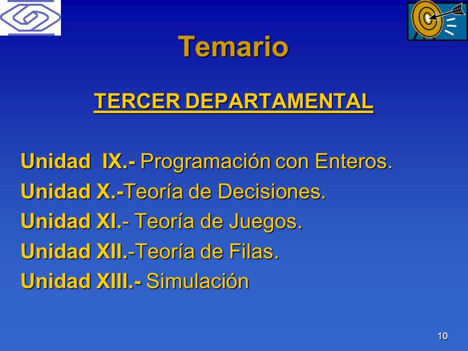 10 Temario TERCER DEPARTAMENTAL Unidad IX.- Programación con Enteros. Unidad X.-Teoría de Decisiones. Unidad XI.- Teoría de Juegos. Unidad XII.-Teoría