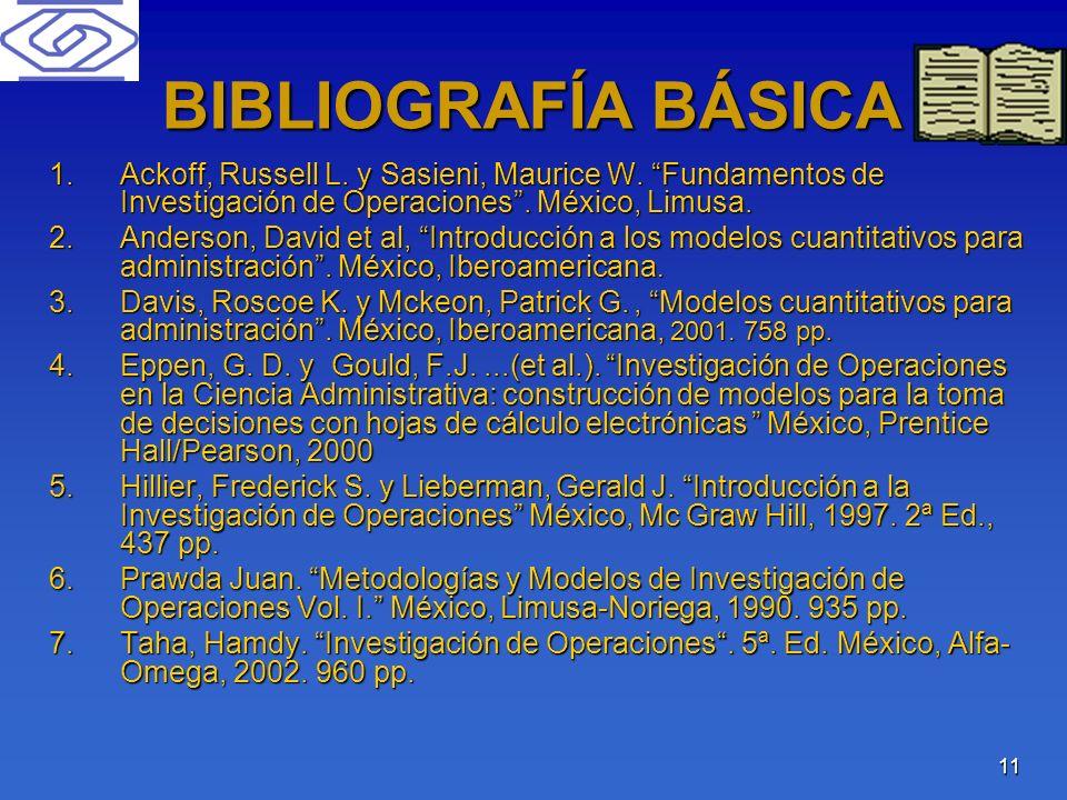 11 BIBLIOGRAFÍA BÁSICA 1.Ackoff, Russell L. y Sasieni, Maurice W. Fundamentos de Investigación de Operaciones. México, Limusa. 2.Anderson, David et al