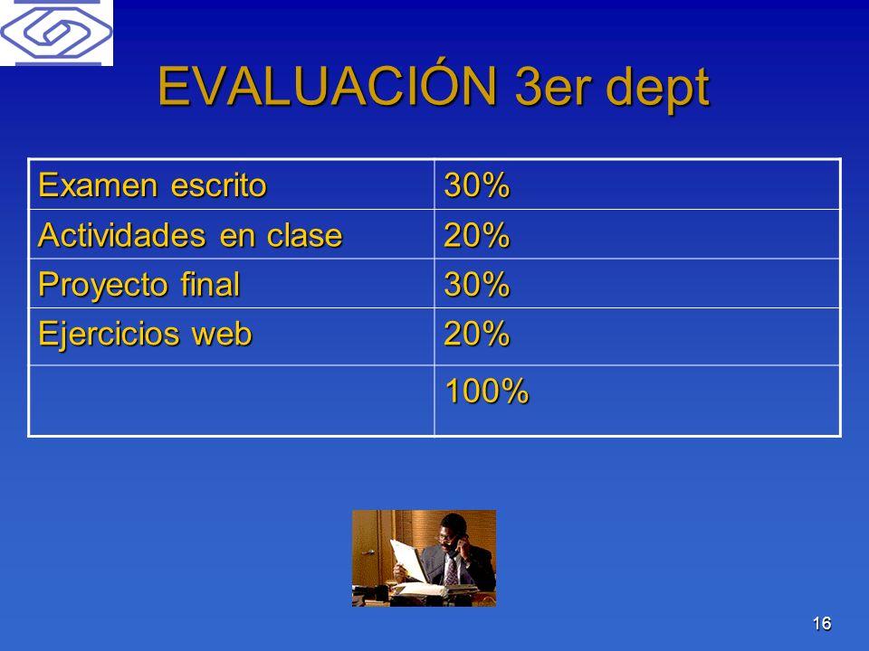 16 EVALUACIÓN 3er dept Examen escrito 30% Actividades en clase 20% Proyecto final 30% Ejercicios web 20% 100%