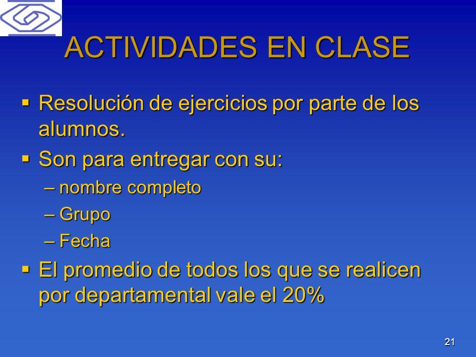 21 ACTIVIDADES EN CLASE Resolución de ejercicios por parte de los alumnos. Resolución de ejercicios por parte de los alumnos. Son para entregar con su
