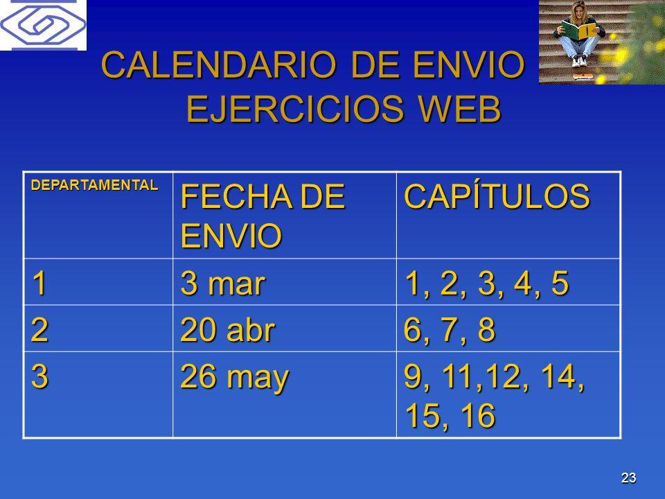 23 CALENDARIO DE ENVIO DE EJERCICIOS WEB DEPARTAMENTAL FECHA DE ENVIO CAPÍTULOS 1 3 mar 1, 2, 3, 4, 5 2 20 abr 6, 7, 8 3 26 may 9, 11,12, 14, 15, 16