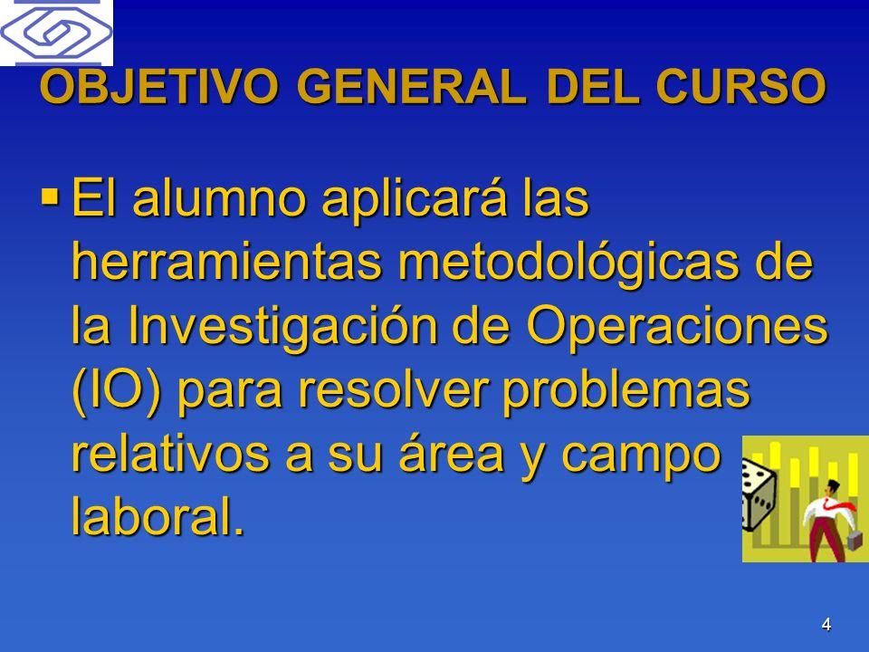 4 OBJETIVO GENERAL DEL CURSO El alumno aplicará las herramientas metodológicas de la Investigación de Operaciones (IO) para resolver problemas relativ