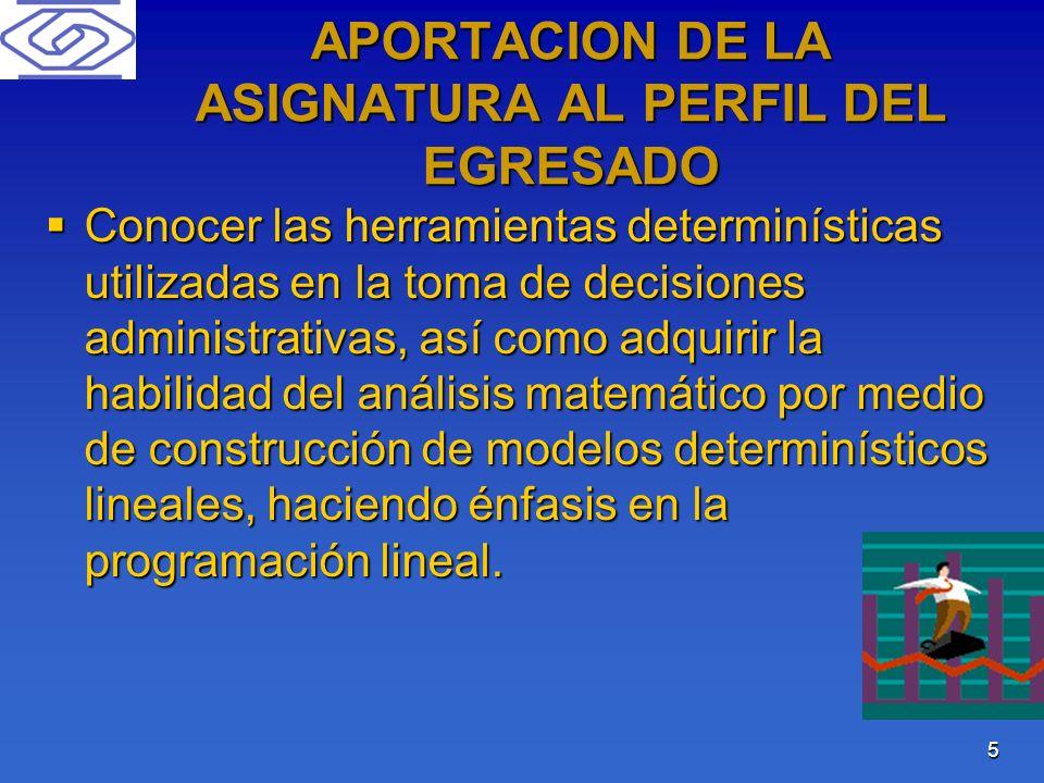 5 APORTACION DE LA ASIGNATURA AL PERFIL DEL EGRESADO Conocer las herramientas determinísticas utilizadas en la toma de decisiones administrativas, así