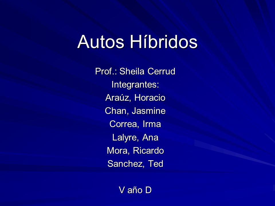 Autos Híbridos Prof.: Sheila Cerrud Integrantes: Araúz, Horacio Chan, Jasmine Correa, Irma Lalyre, Ana Mora, Ricardo Sanchez, Ted V año D