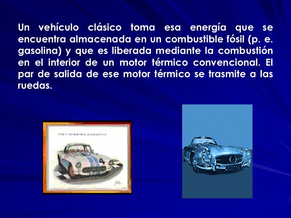 Un vehículo clásico toma esa energía que se encuentra almacenada en un combustible fósil (p. e. gasolina) y que es liberada mediante la combustión en