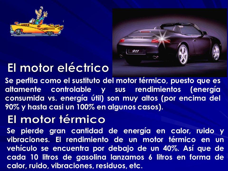 Se perfila como el sustituto del motor térmico, puesto que es altamente controlable y sus rendimientos (energía consumida vs. energía útil) son muy al
