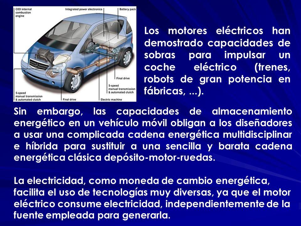 Sin embargo, las capacidades de almacenamiento energético en un vehículo móvil obligan a los diseñadores a usar una complicada cadena energética multi