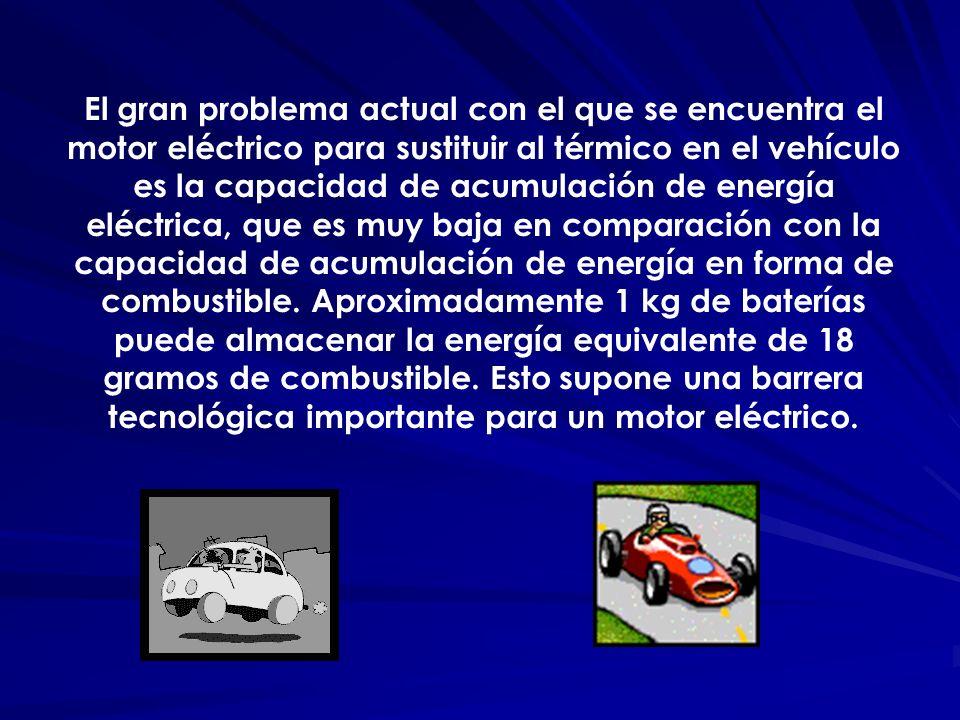 El gran problema actual con el que se encuentra el motor eléctrico para sustituir al térmico en el vehículo es la capacidad de acumulación de energía