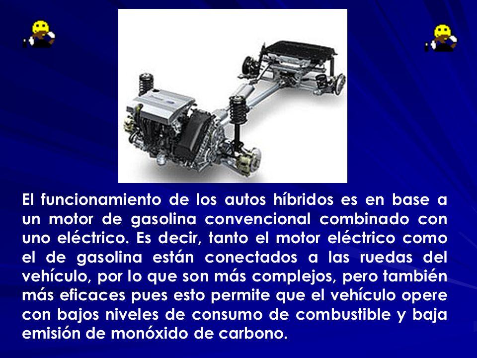 El funcionamiento de los autos híbridos es en base a un motor de gasolina convencional combinado con uno eléctrico. Es decir, tanto el motor eléctrico