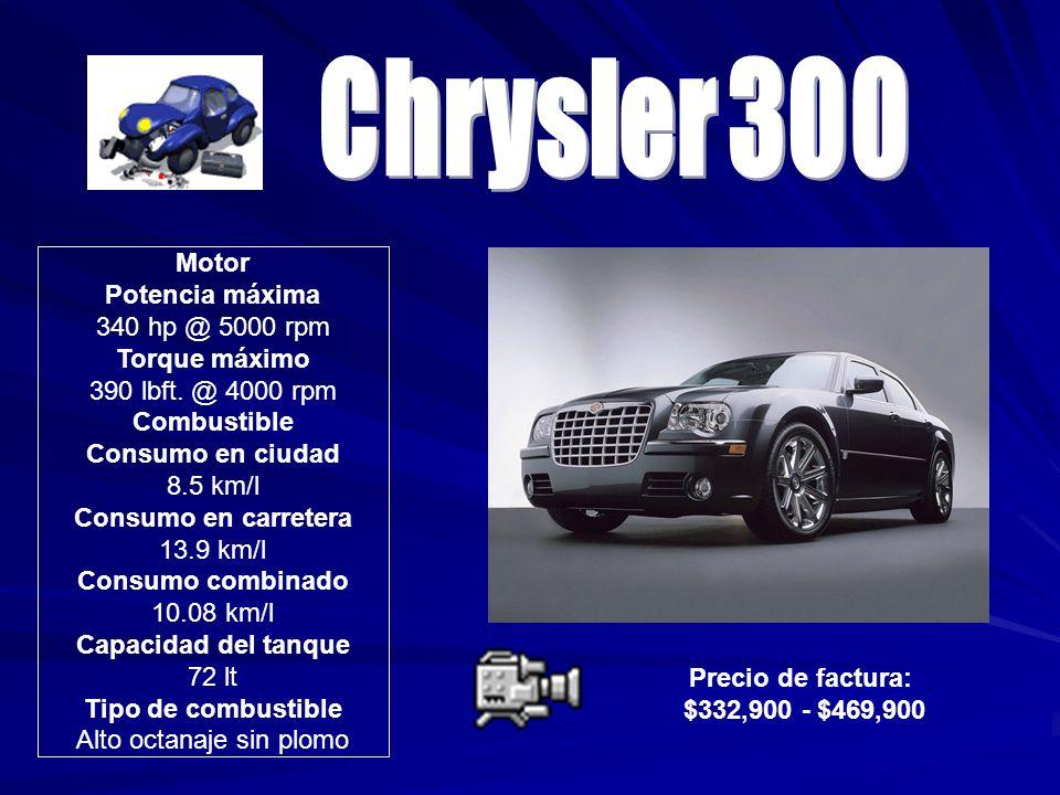 Precio de factura: $332,900 - $469,900 Motor Potencia máxima 340 hp @ 5000 rpm Torque máximo 390 lbft. @ 4000 rpm Combustible Consumo en ciudad 8.5 km