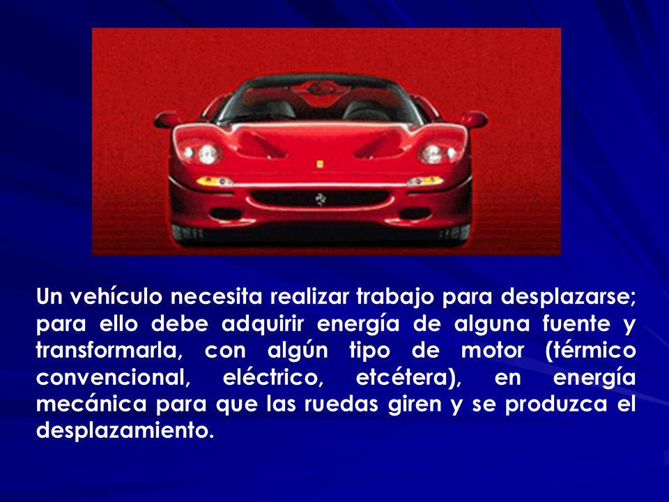 Un vehículo necesita realizar trabajo para desplazarse; para ello debe adquirir energía de alguna fuente y transformarla, con algún tipo de motor (tér