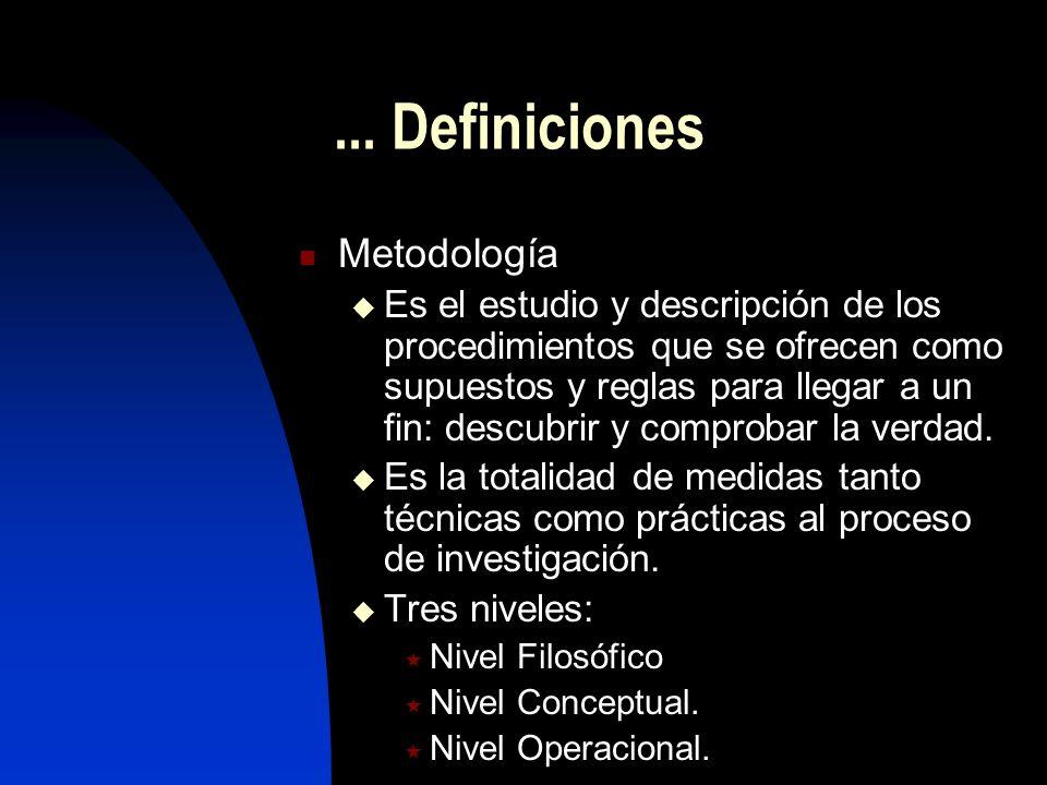 ... Definiciones Metodología Es el estudio y descripción de los procedimientos que se ofrecen como supuestos y reglas para llegar a un fin: descubrir