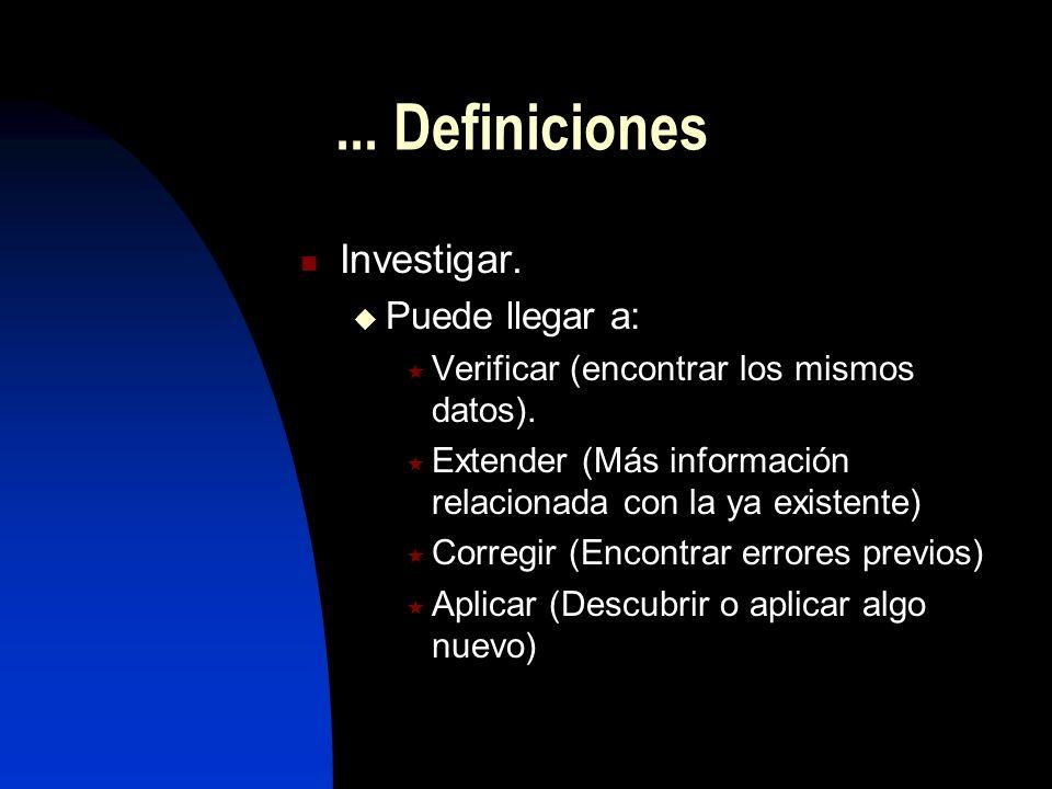 ... Definiciones Investigar. Puede llegar a: Verificar (encontrar los mismos datos). Extender (Más información relacionada con la ya existente) Correg