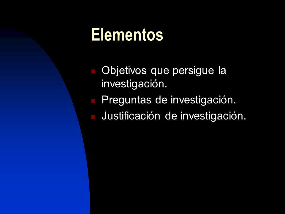 Elementos Objetivos que persigue la investigación. Preguntas de investigación. Justificación de investigación.