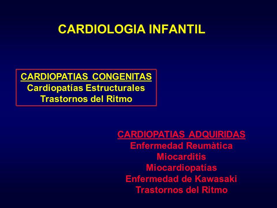 CARDIOPATIAS CONGENITAS Cardiopatías Estructurales Trastornos del Ritmo CARDIOPATIAS ADQUIRIDAS Enfermedad Reumàtica Miocarditis Miocardiopatías Enfer