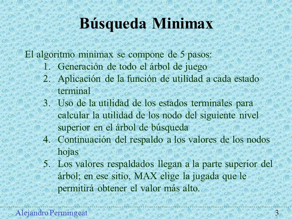 Búsqueda Minimax El algoritmo minimax se compone de 5 pasos: 1.Generación de todo el árbol de juego 2.Aplicación de la función de utilidad a cada esta