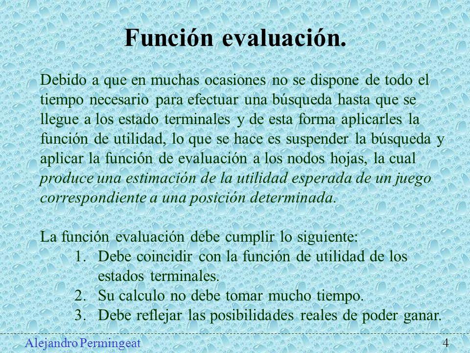 Alejandro Permingeat 4 Función evaluación. Debido a que en muchas ocasiones no se dispone de todo el tiempo necesario para efectuar una búsqueda hasta