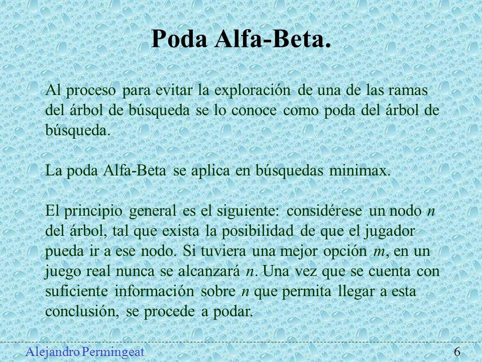 Alejandro Permingeat 6 Poda Alfa-Beta. Al proceso para evitar la exploración de una de las ramas del árbol de búsqueda se lo conoce como poda del árbo