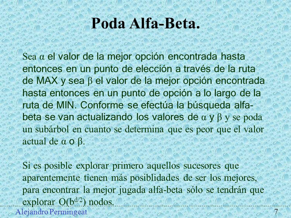 Alejandro Permingeat 7 Poda Alfa-Beta. Sea α el valor de la mejor opción encontrada hasta entonces en un punto de elección a través de la ruta de MAX