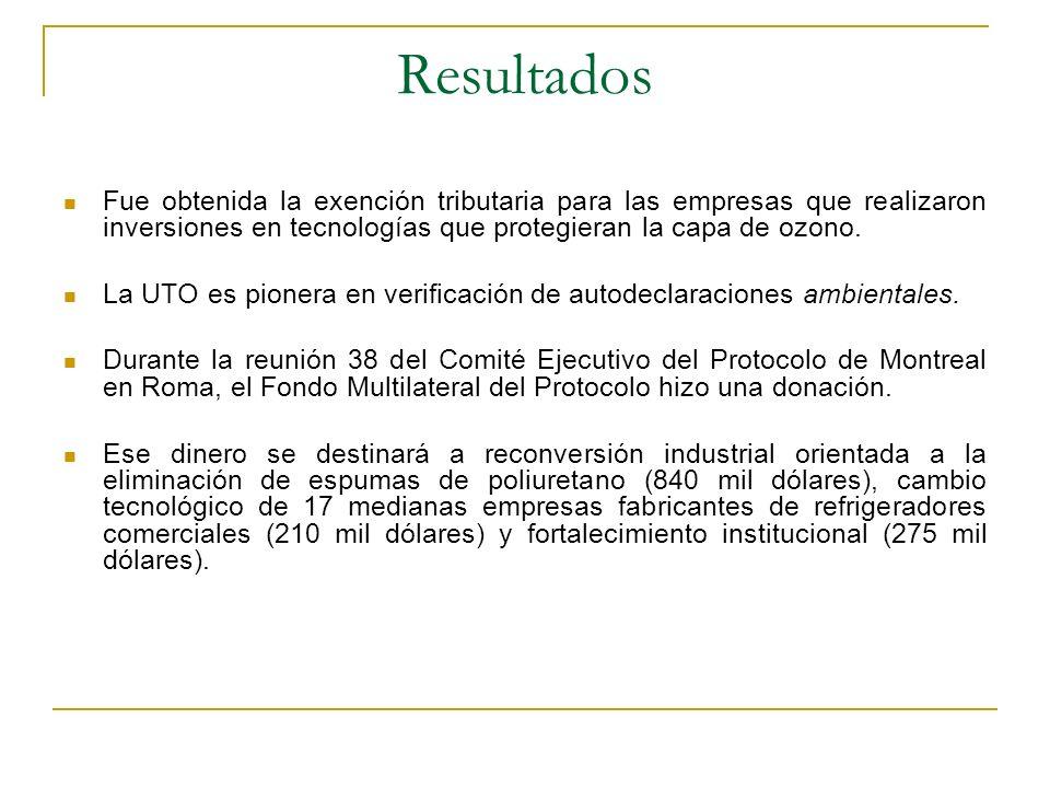 Resultados Fue obtenida la exención tributaria para las empresas que realizaron inversiones en tecnologías que protegieran la capa de ozono. La UTO es