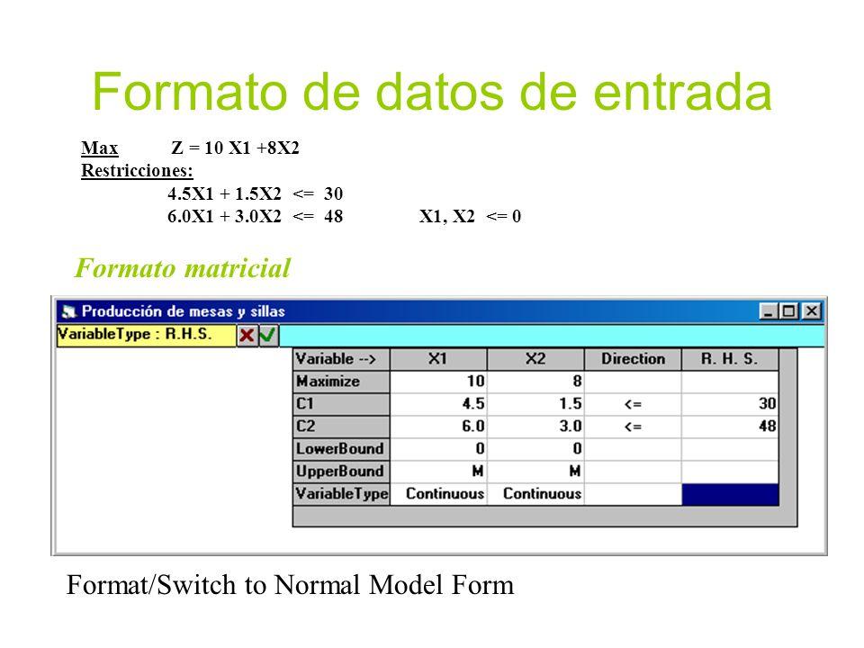 Tipos de variables Continuas no negativas Enteras no negativas Binarias Sin signo/ilimitadas