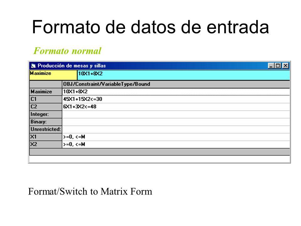 Formato de datos de entrada Max Z = 10 X1 +8X2 Restricciones: 4.5X1 + 1.5X2 <= 30 6.0X1 + 3.0X2 <= 48 X1, X2 <= 0 Formato matricial Format/Switch to N