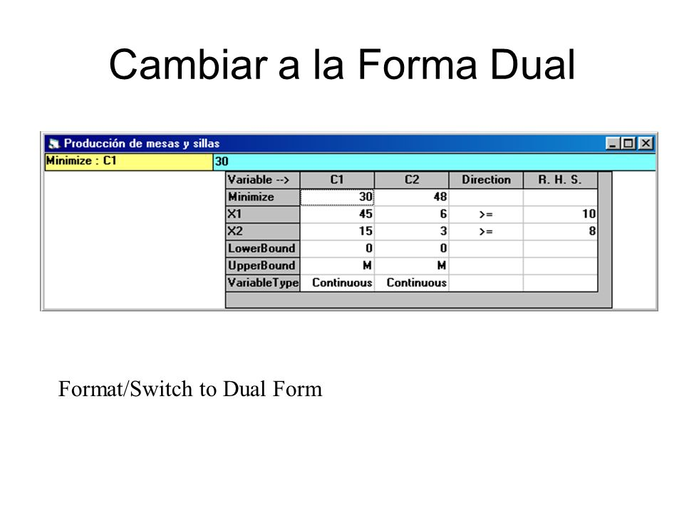 Cambiar a la Forma Dual Format/Switch to Dual Form