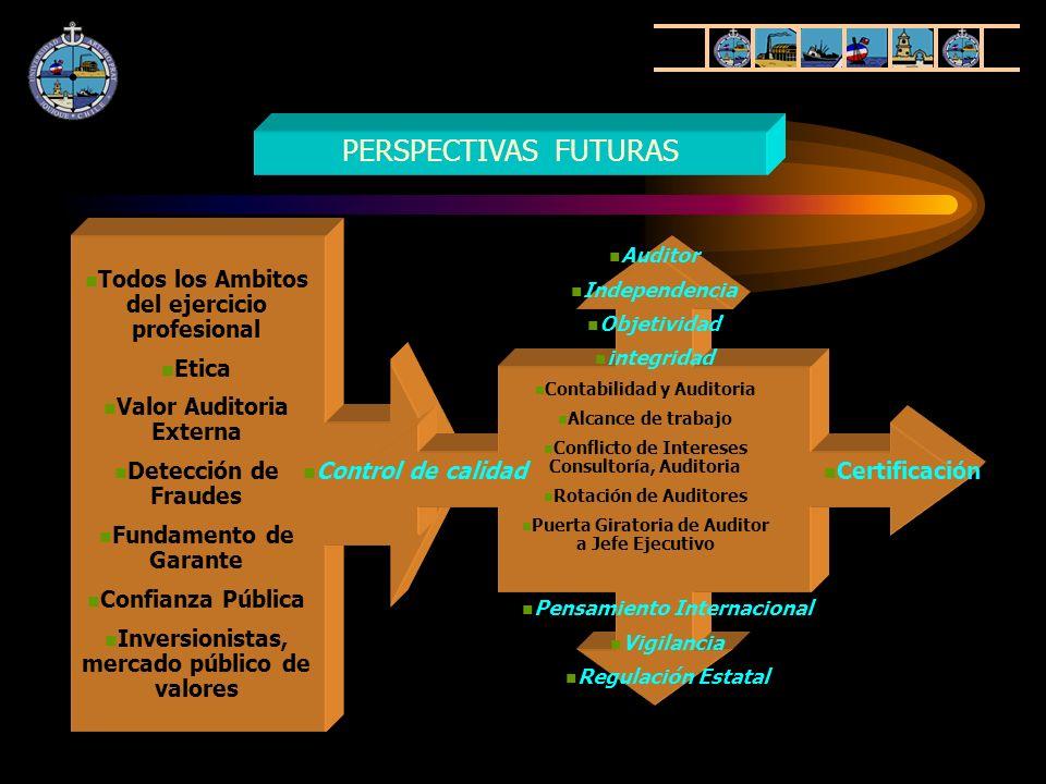 PERSPECTIVAS FUTURAS Contabilidad y Auditoria Alcance de trabajo Conflicto de Intereses Consultoría, Auditoria Rotación de Auditores Puerta Giratoria