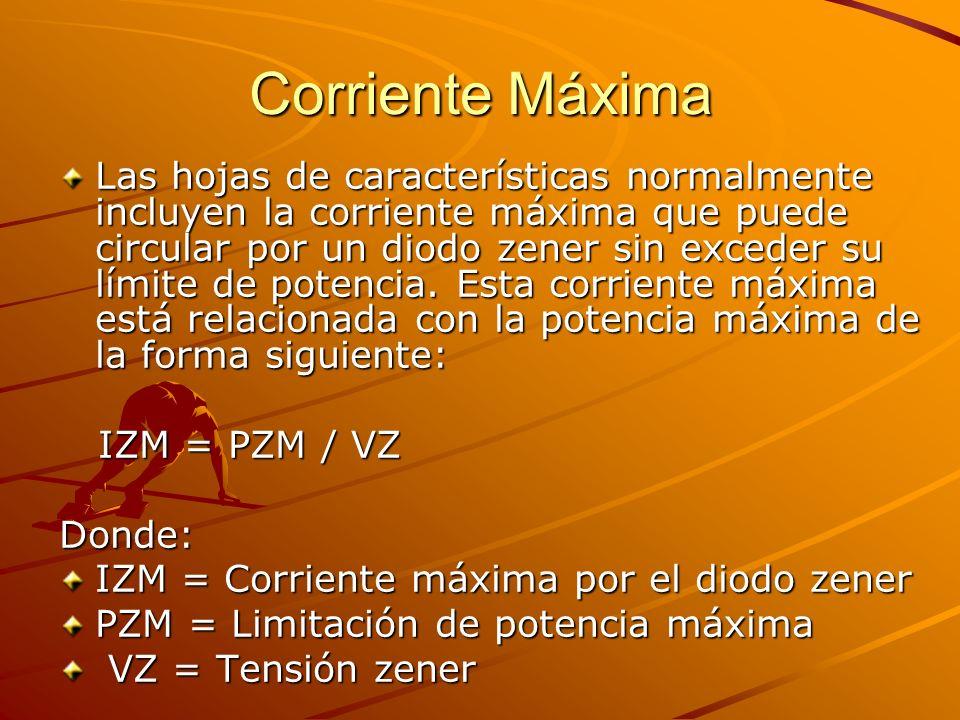Corriente Máxima Las hojas de características normalmente incluyen la corriente máxima que puede circular por un diodo zener sin exceder su límite de