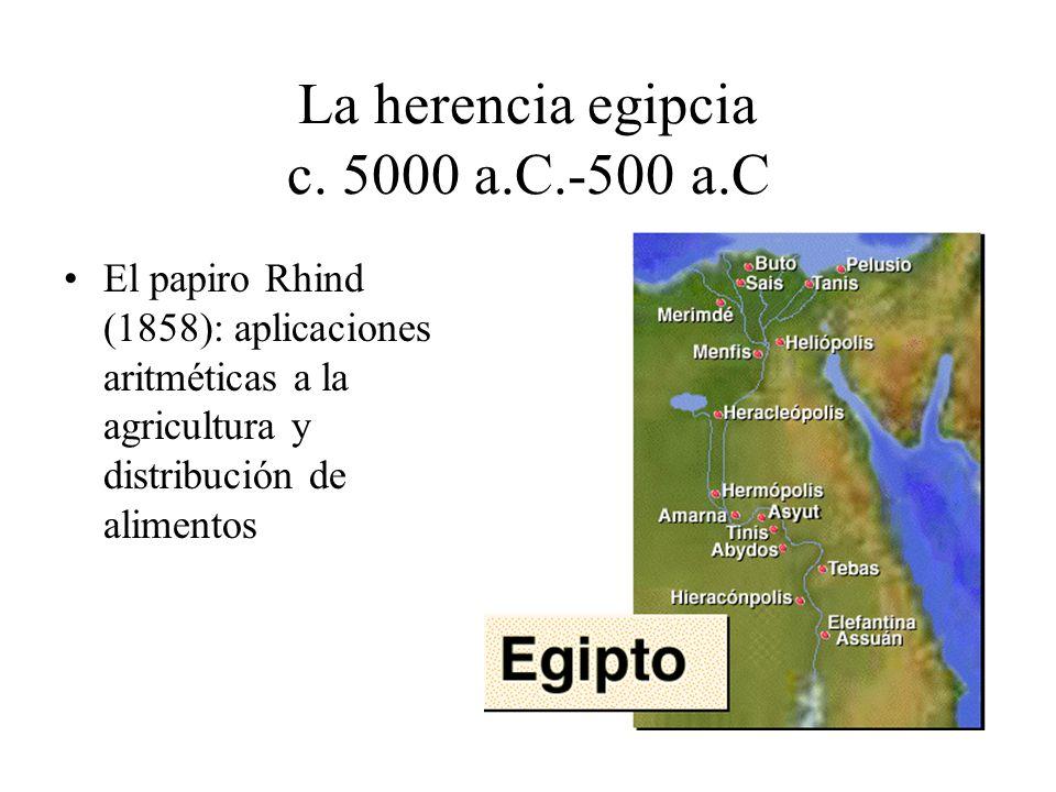 La herencia egipcia c. 5000 a.C.-500 a.C El papiro Rhind (1858): aplicaciones aritméticas a la agricultura y distribución de alimentos