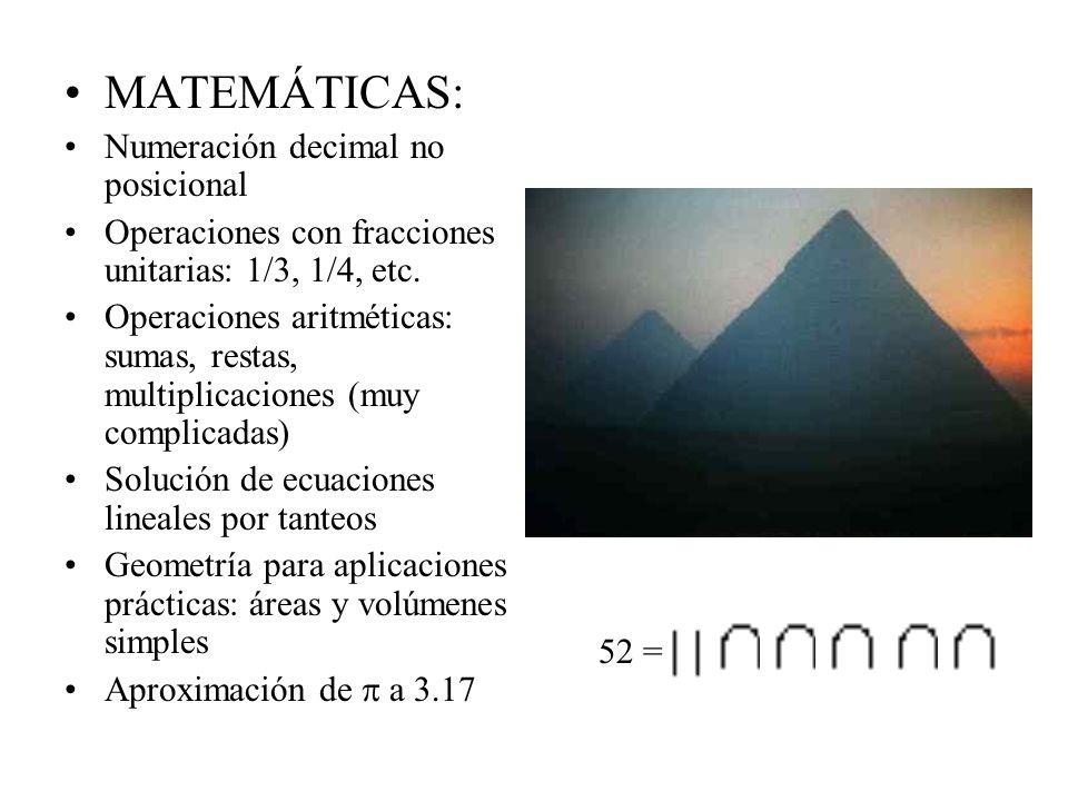 MATEMÁTICAS: Numeración decimal no posicional Operaciones con fracciones unitarias: 1/3, 1/4, etc. Operaciones aritméticas: sumas, restas, multiplicac