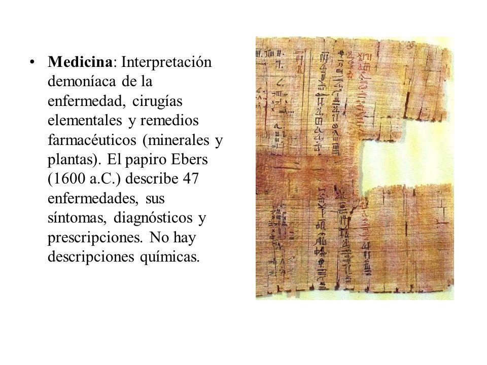 Medicina: Interpretación demoníaca de la enfermedad, cirugías elementales y remedios farmacéuticos (minerales y plantas). El papiro Ebers (1600 a.C.)