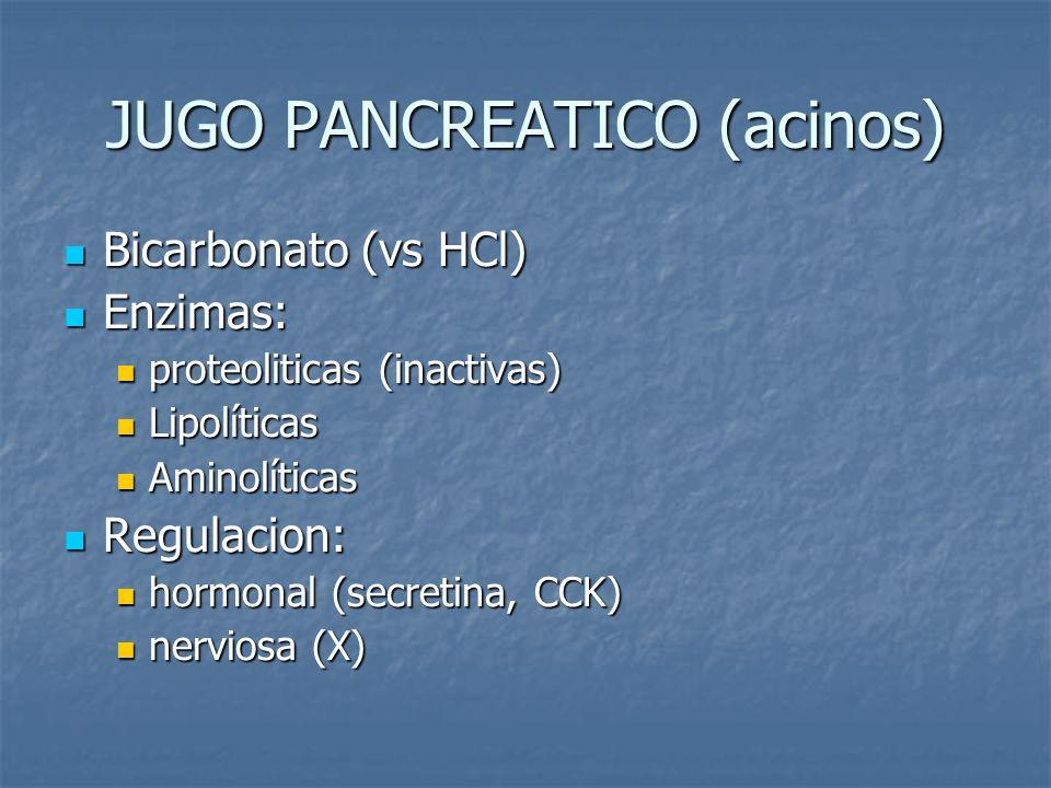 JUGO PANCREATICO (acinos) Bicarbonato (vs HCl) Bicarbonato (vs HCl) Enzimas: Enzimas: proteoliticas (inactivas) proteoliticas (inactivas) Lipolíticas