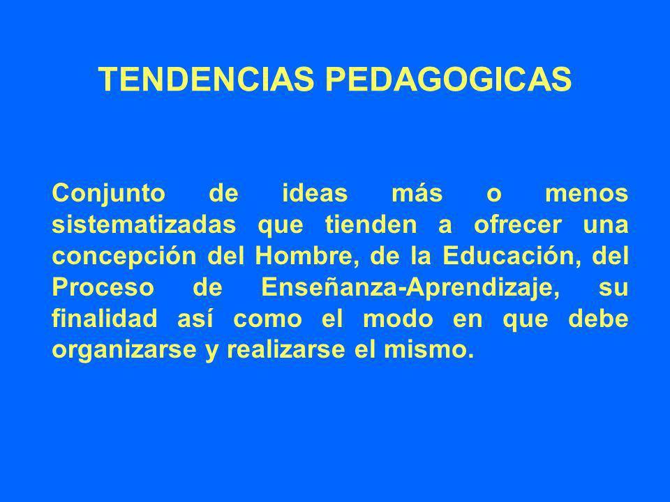 TENDENCIAS PEDAGOGICAS Conjunto de ideas más o menos sistematizadas que tienden a ofrecer una concepción del Hombre, de la Educación, del Proceso de E
