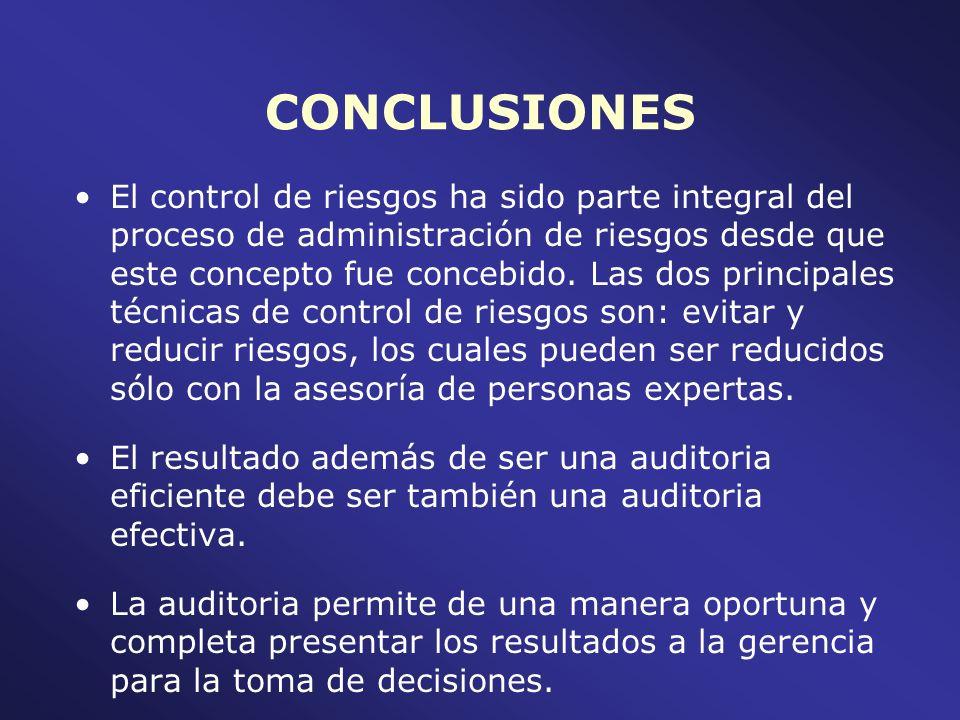 CONCLUSIONES El control de riesgos ha sido parte integral del proceso de administración de riesgos desde que este concepto fue concebido. Las dos prin