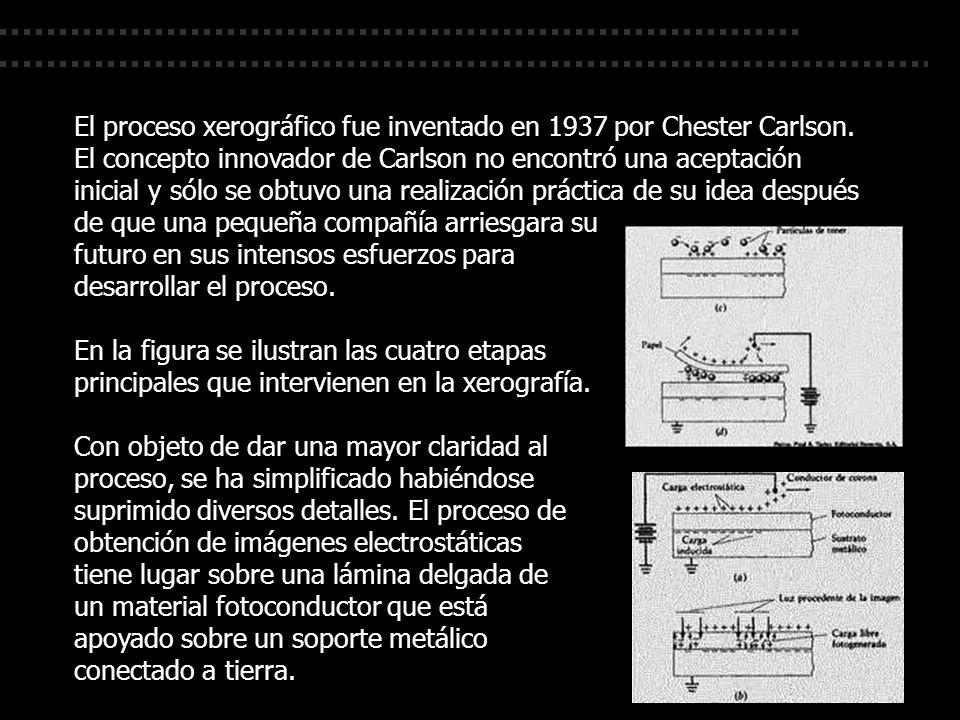 El proceso xerográfico fue inventado en 1937 por Chester Carlson. El concepto innovador de Carlson no encontró una aceptación inicial y sólo se obtuvo
