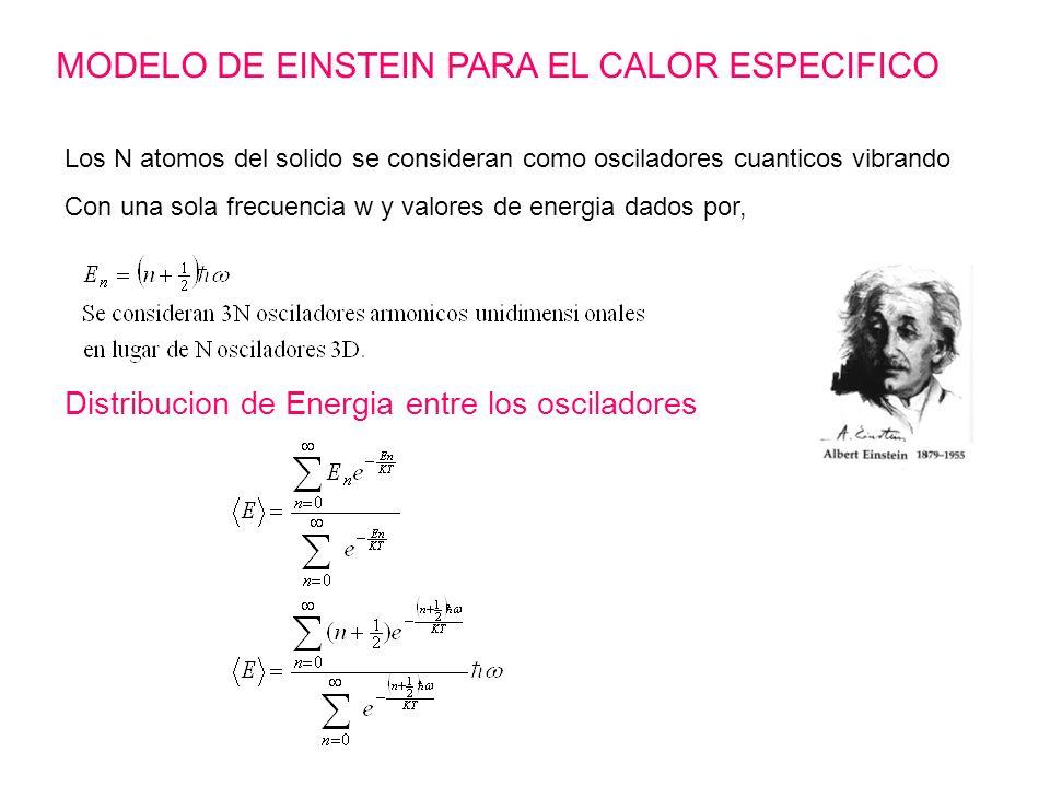 MODELO DE EINSTEIN PARA EL CALOR ESPECIFICO Los N atomos del solido se consideran como osciladores cuanticos vibrando Con una sola frecuencia w y valo